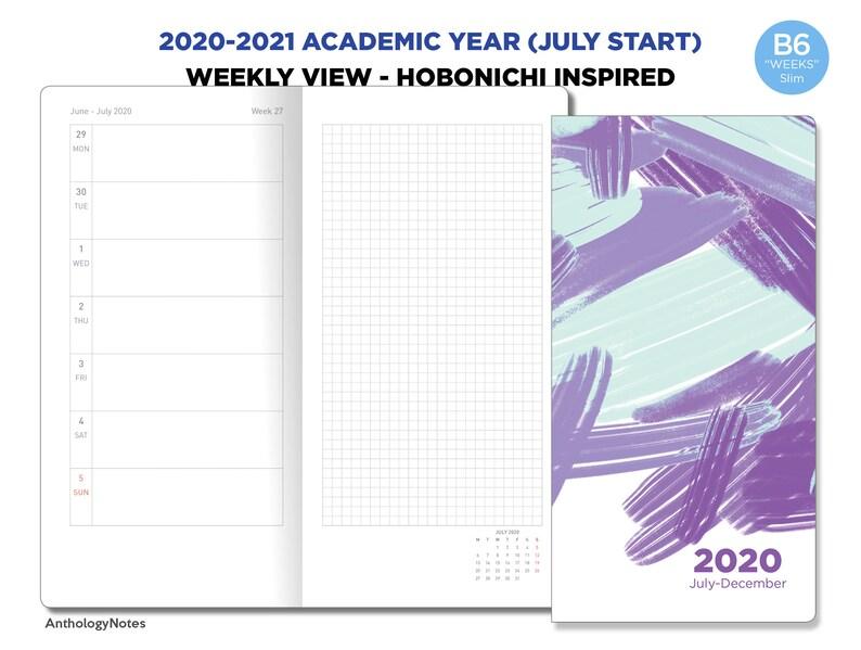 Academic Year 2020  2021 B6 WEEKS Slim Weekly Horizontal image 0