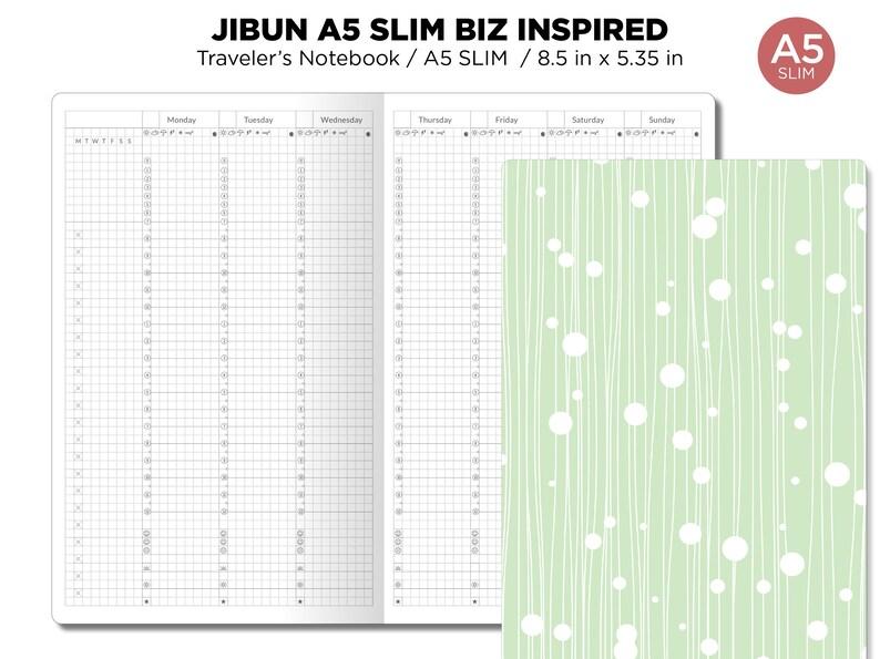 JIBUN Techo A5 Slim Weekly GRID Traveler's Notebook image 0