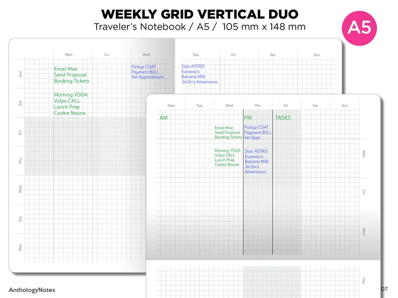 A5 Weekly View GRID Dual Layout Printable Traveler's image 0