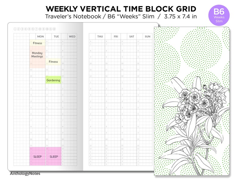 TN B6 Hobonichi Weeks Slim TIME BLOCK Vertical Grid Printable image 0