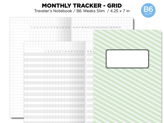 graphic relating to Printable 25 Square Grid identified as B6 Skinny Regular monthly Tracker GRID Printable Add Visitors Laptop Undated