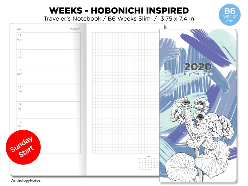 2020 B6 WEEKS Slim Weekly Horizontal Hobonichi Weeks Inspired image 0