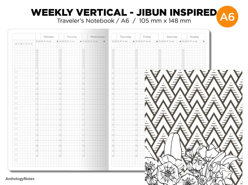 A6 JIBUN Biz Weekly GRID Traveler's Notebook Vertical image 0