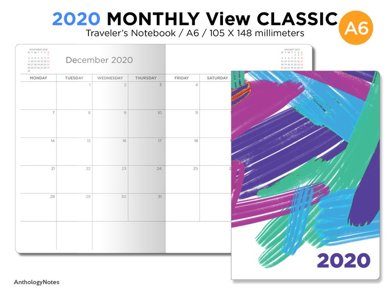 A6 2020 Monthly Planner Printable Insert Traveler's image 0