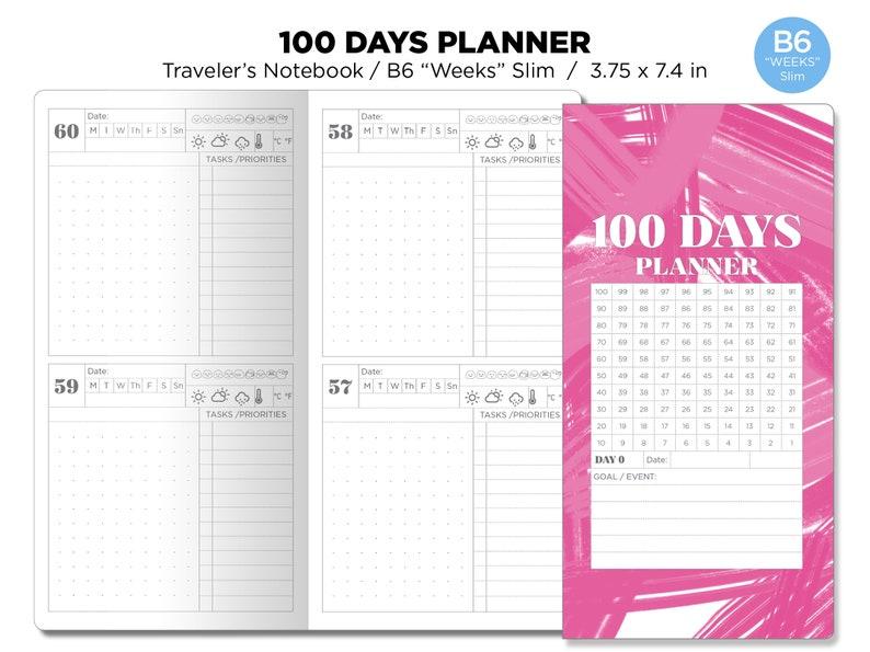 B6 WEEKS Slim 100 Days Planner Traveler's Notebook Goal image 0