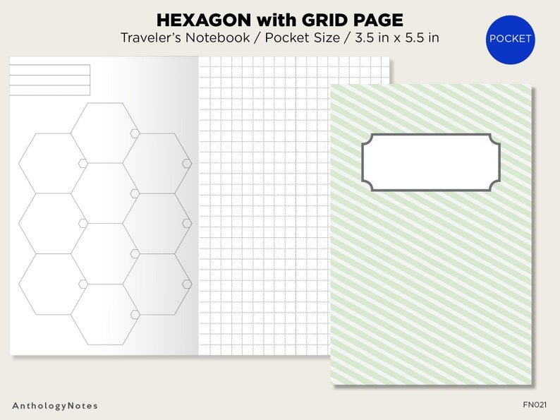 picture regarding Printable Hexagon Grid identified as POCKET HEXAGON Grid Holidaymakers Laptop computer Printable Increase