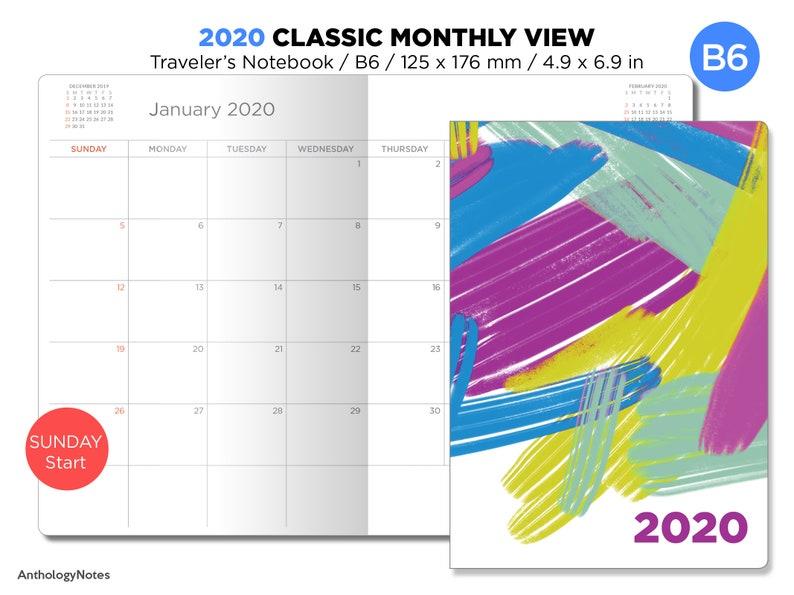 B6 2020 Monthly Planner Printable Insert Traveler's image 0