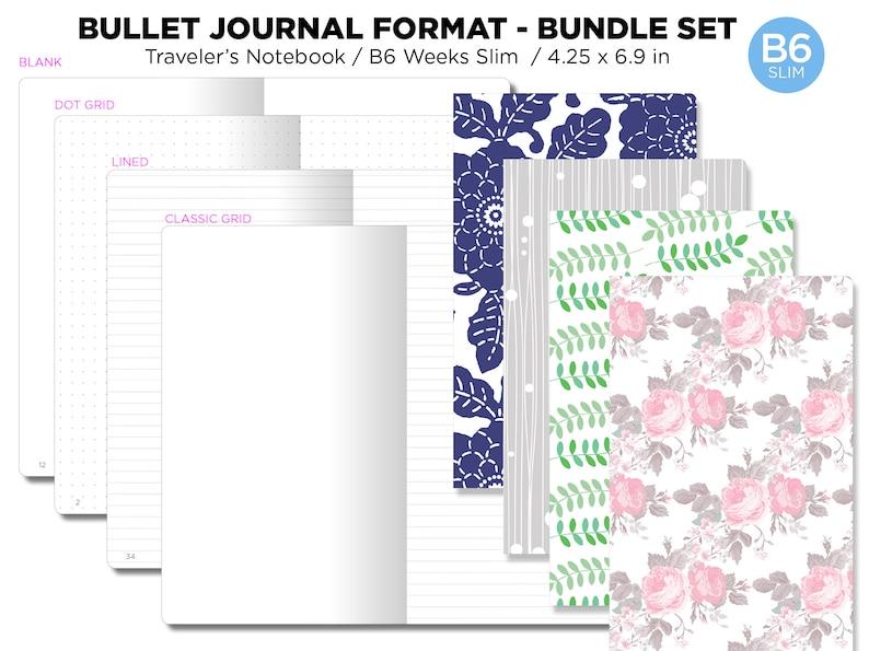 B6 Slim Bullet Journal Bundle SET Printable Insert Grid image 0