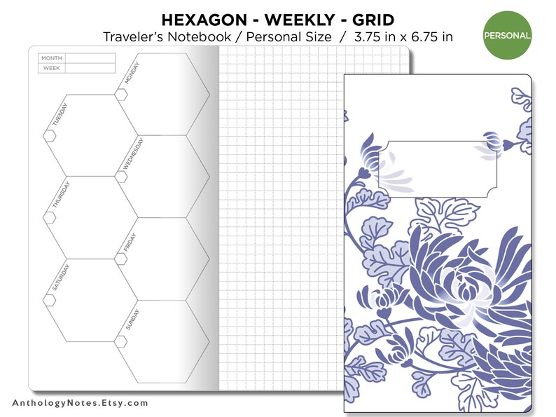 PERSONAL Weekly HEXAGON GRID Traveler's Notebook Printable image 0