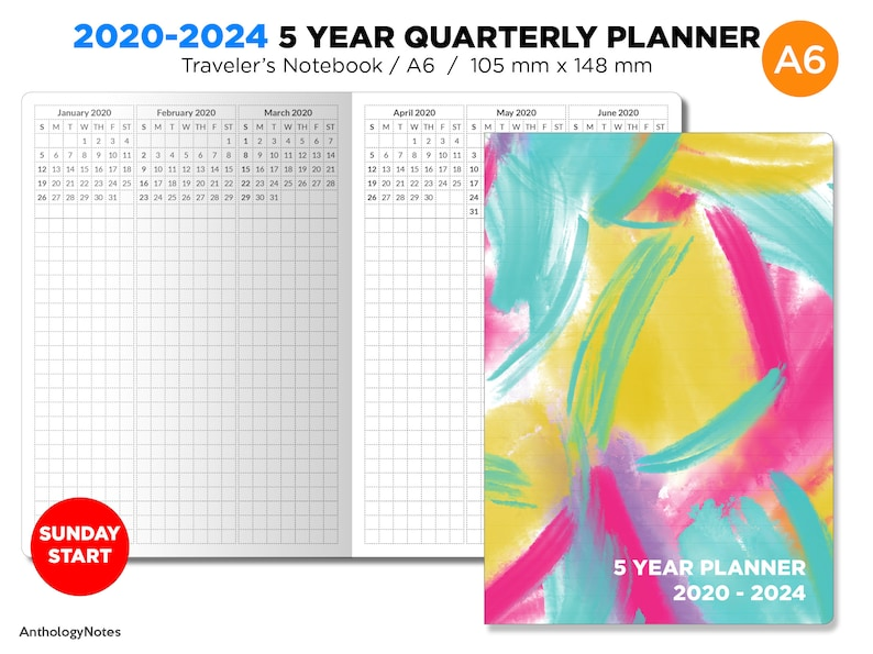 A6 5 YEAR Planner 2020-2024 Quarterly Glance Vertical GRID image 0