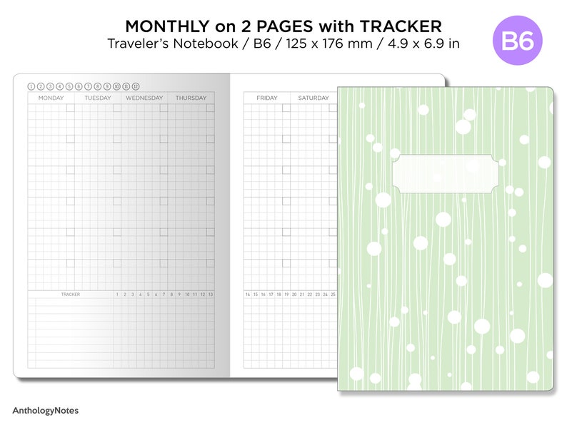 B6 Monthly View Tracker GRID Traveler's Notebook Printable image 0