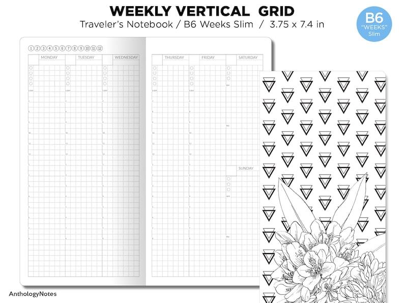 TN B6 WEEKS Slim Weekly VERTICAL Grid image 0