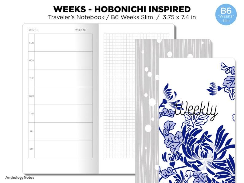 B6 WEEKS Slim Weekly Horizontal Hobonichi Weeks Inspired image 0