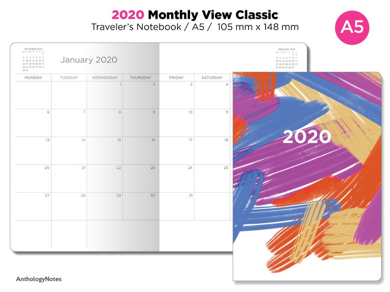 A5 2020 Monthly Planner Printable Insert Traveler's image 0