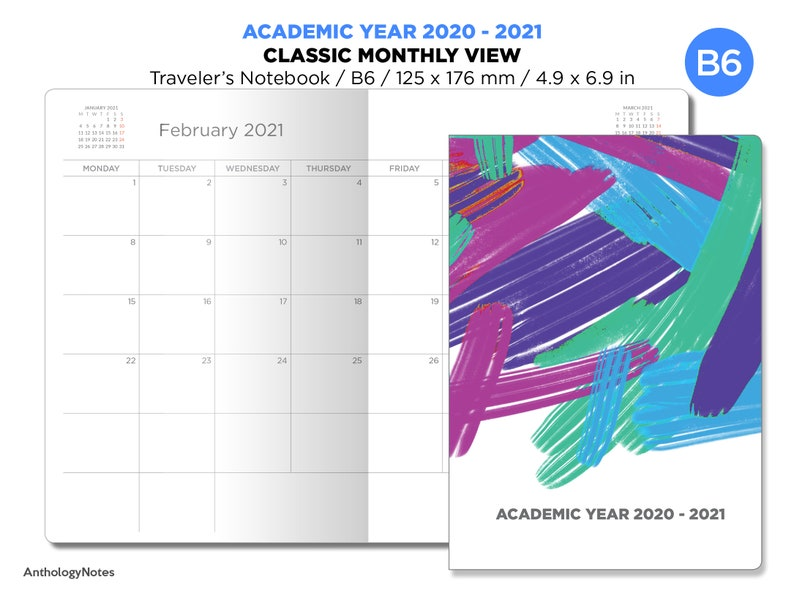 B6 ACADEMIC YEAR 2020-2021 JULY Start Monthly Planner image 0