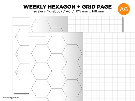 graphic regarding Printable Hexagon Grid identified as TN A6 HEXAGON Weekly Travellers Laptop computer Printable Include - GRID