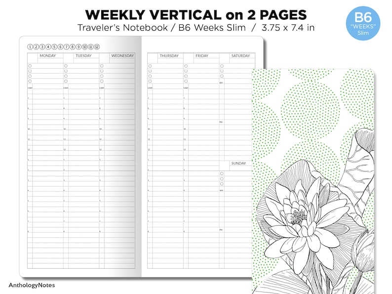 B6 WEEKS Slim Weekly VERTICAL Traveler's image 0