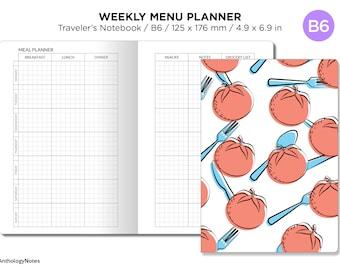 B6 TN Menu Planner Weekly Minimalist Printable Traveler's Notebook Insert GRID