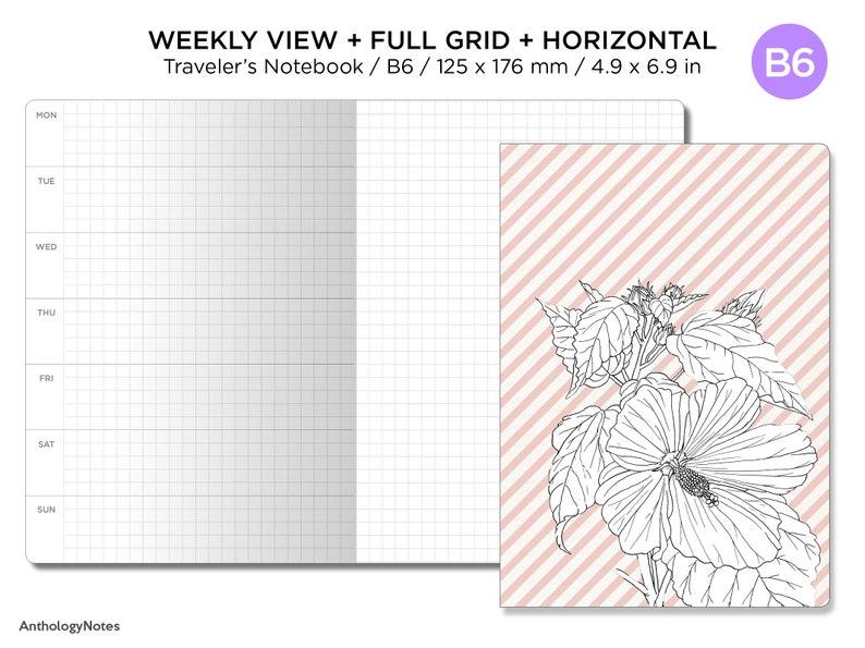 B6 Weekly View Horizontal Full GRID Traveler's Notebook image 0