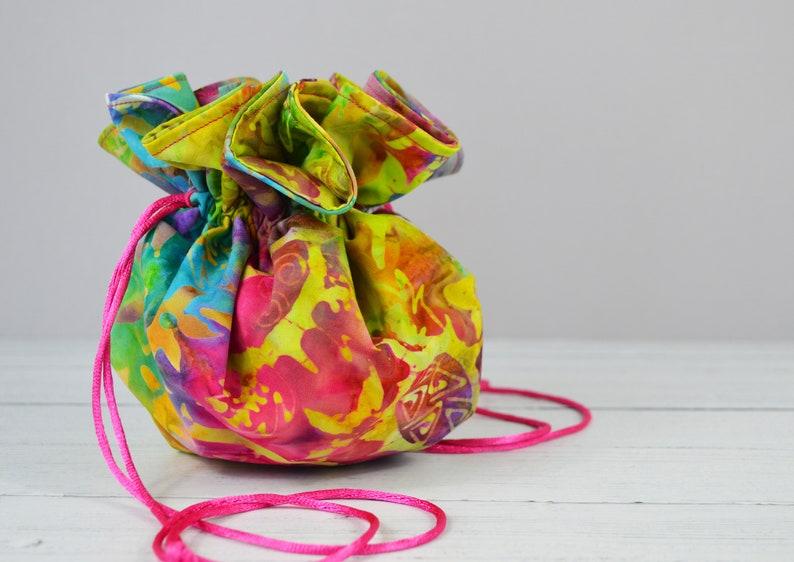 Batik drawstring Bag Unique Gift colourful Pouch multi colour drawstring Pouch Gift for her Drawstring Bag Batik Bag Jewellery bag