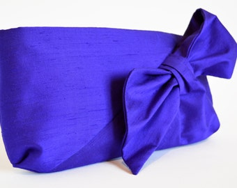 Purple Clutch bag, Silk Clutch bag, Clutch Purse, Purple silk bag, Bag with a Bow, Clutch bags