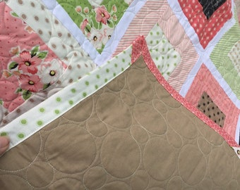 Darling lap quilt in pink, green, beige
