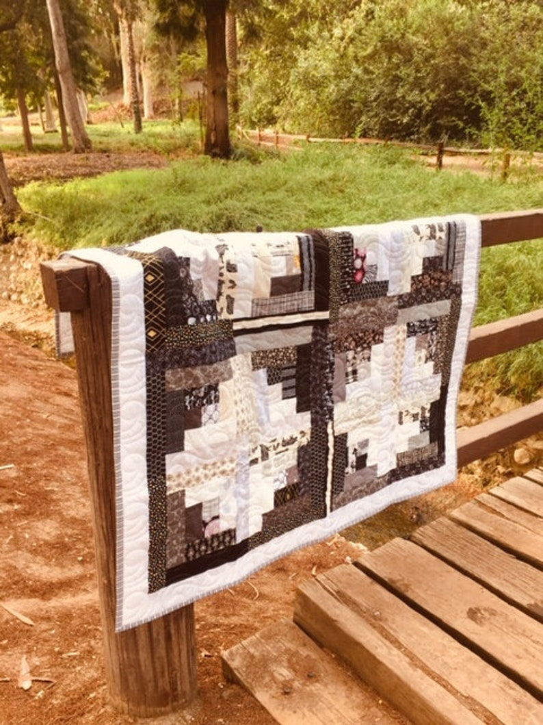 Black and White Log Cabin Quilt