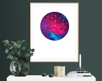 Geometric Space, Downloadable Print, Modern Art, Printable Art, Instant Download, Geometric.