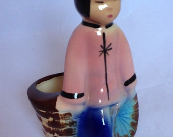 Chinese Girl ceramic planter