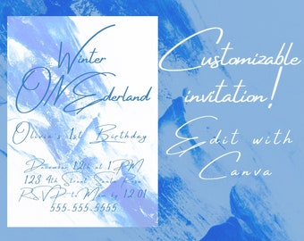 Winter ONEderland First Birthday wonderland party frozen ice queen princess printable instant download template