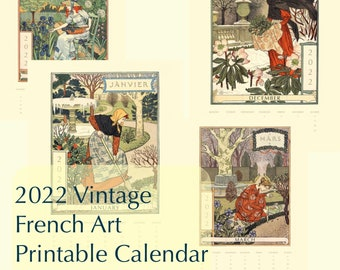 Planner Advent 2022 Vintage Antique French Illustration Art Digital Printable Monthly Yearly Calendar PDF Instant Download