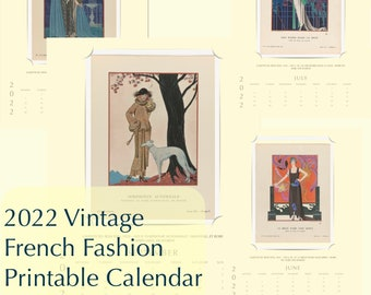 2022 Vintage Antique Gazette Du Bon Ton French Fashion Illustration Art Digital Printable Monthly Yearly Calendar PDF Instant Download