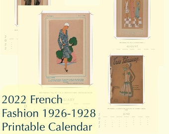 Planner Advent 2022 Vintage Antique 1926-1928 French Fashion Illustration Art Digital Printable Monthly Yearly Calendar PDF Instant Download