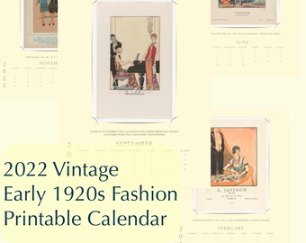Planner Advent 2022 Vintage Antique Early 1920s Fashion Illustration Art Digital Printable Monthly Yearly Calendar PDF Instant Download