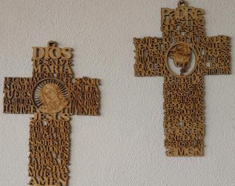 Wood carving prayers Cross, Padre Nuestro, Ave Maria, Holycross Wall, Nurses prayer, baptism, first Communion favor, wedding gift, baby crib