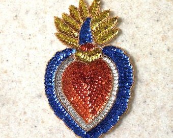 Milagro sacred heart sequin patch frida sequin patch heart etsy