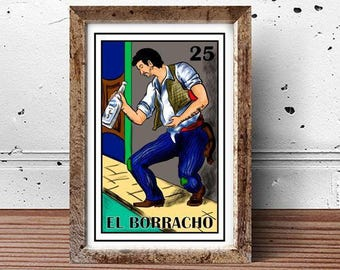 Mexican loteria, El borracho loteria, Mexican Drunk man Loteria, Mexican bridal shower, Tequila, Margarita, Cinco de mayo, Mexican Party