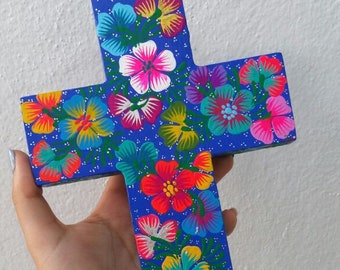 Mexican wood Cross, Mexican sacred heart cross, Mexican Milagro cross, Mexican flower Wall Art Cross, Mexican Flower Cross, Mexican Cross
