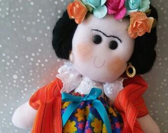 Mexican rag Doll, Mexican doll, Maria rag doll, Mexican Folk art doll, Day of the dead doll, Mexican Nursery room, Adelita feminist plush