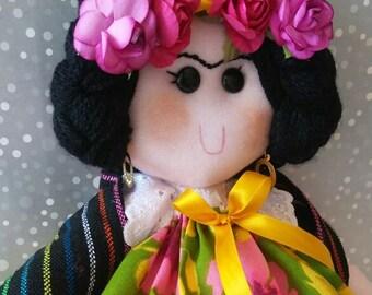 Mexican rag Doll, Maria rag doll, Adelita feminist rag doll, Mexican Folk art doll, Day of the dead doll, Mexican Nursery room plush