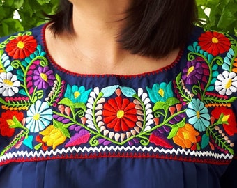 b8f00170169 Navy blue mexican blouse