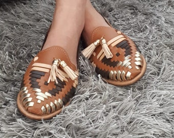 581f87235ed3 Mexican Shoes brown gold