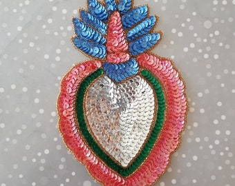 Sacred heart of jesus christ milagro sacred heart sequin etsy