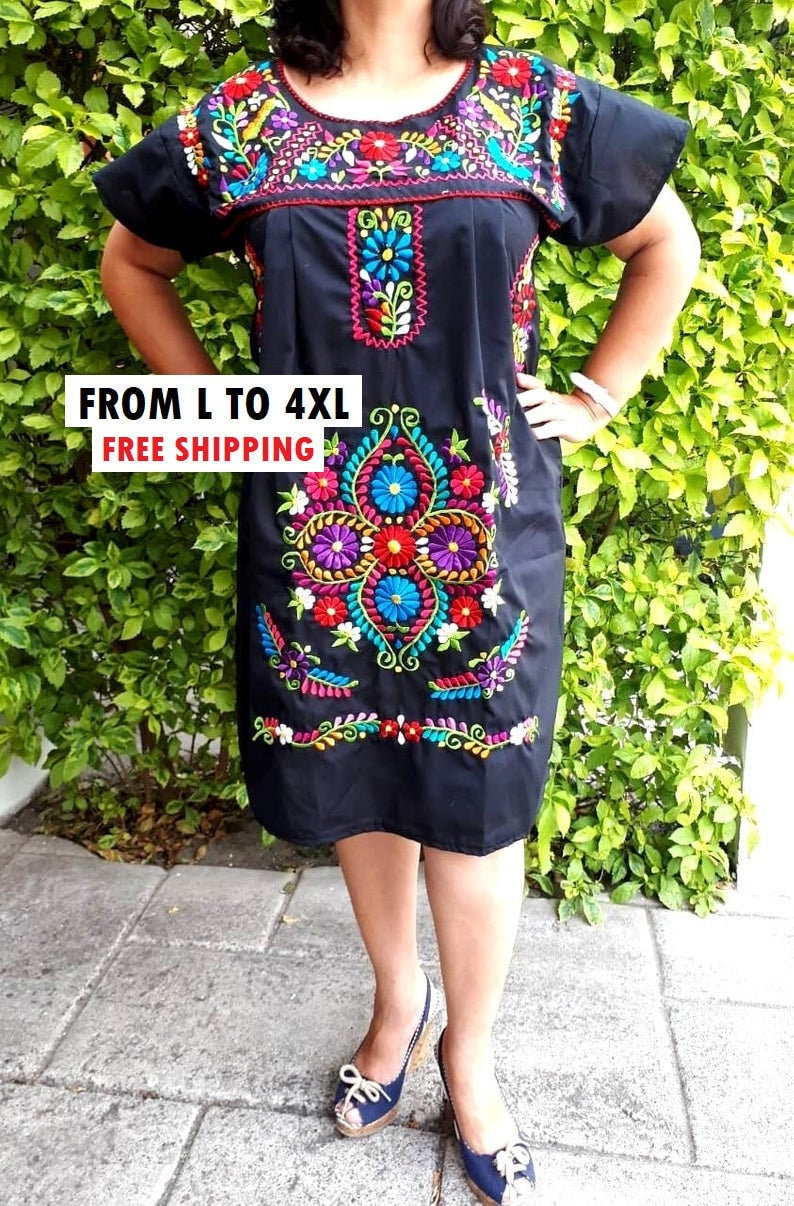Mexican Embroidered Dress, Black mexican embroidery dress, Bride mexican  dress, Mexico Vintage dress, Rebozo shawl, All Plus size dress