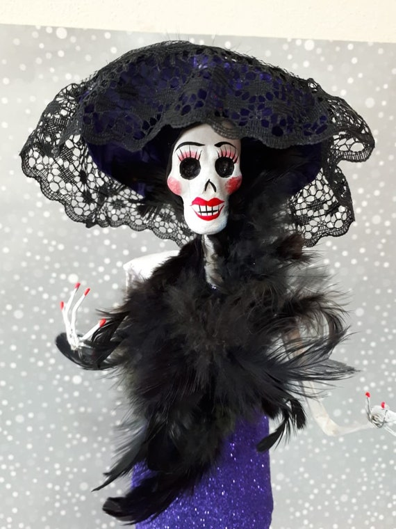 Day Of The Dead Catrina Doll Coco Sugar Skull Decor Dia De Etsy