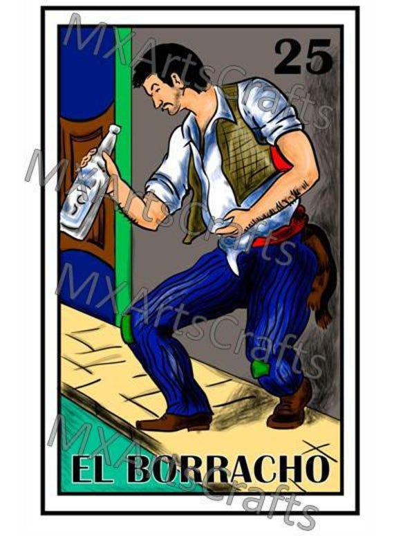 mexican loteria el borracho loteria mexican drunk man etsy