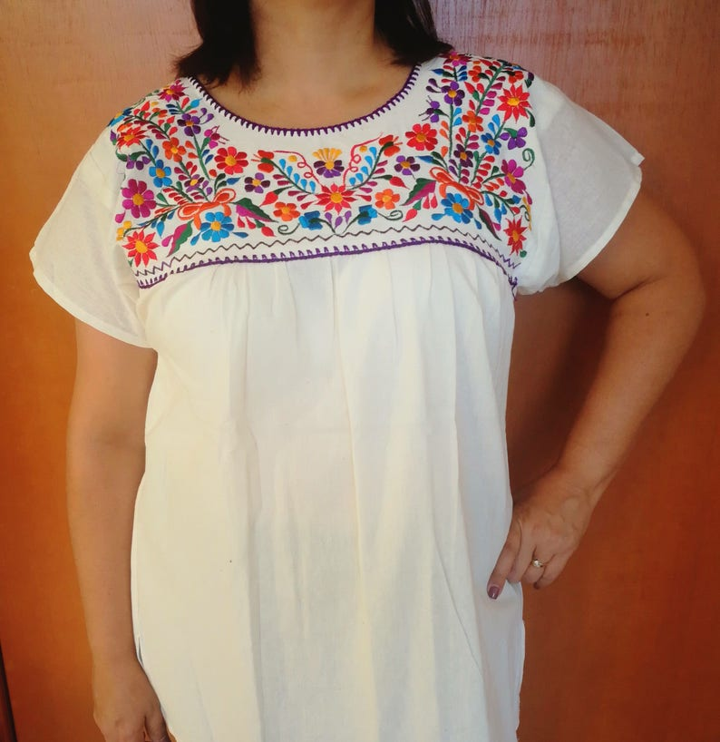 fc08026354414 Broderie mexicain MED chemisier blouse mexicaine Beige
