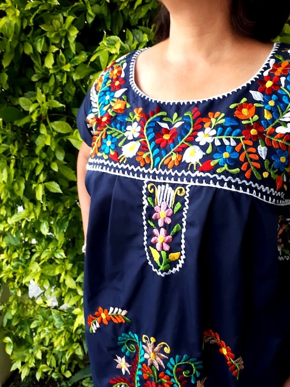 Mexican Embroidered Large Dress 42 Navy blue mexican   Etsy