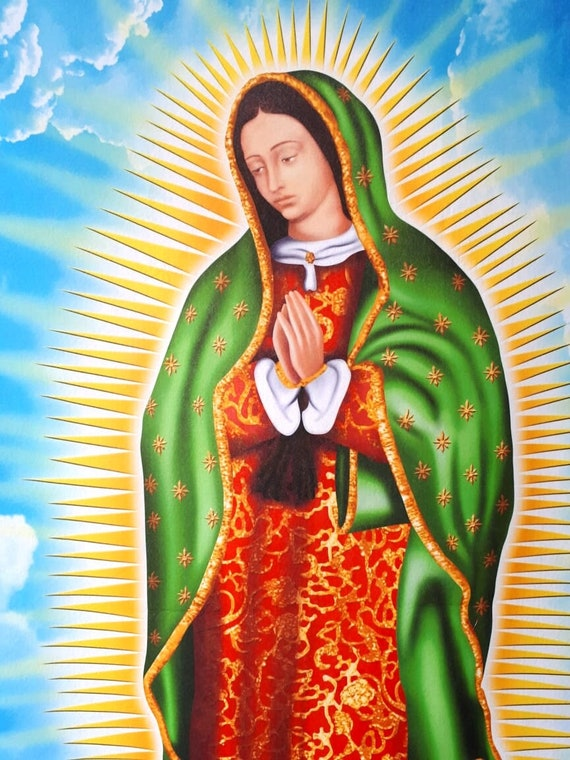 Virgen de guadalupe poster our lady guadalupe virgin of etsy - Images of la virgen de guadalupe ...