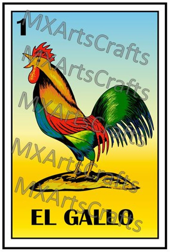 American Express Card >> Mexican loteria El gallo loteria card Country wall Art The ...